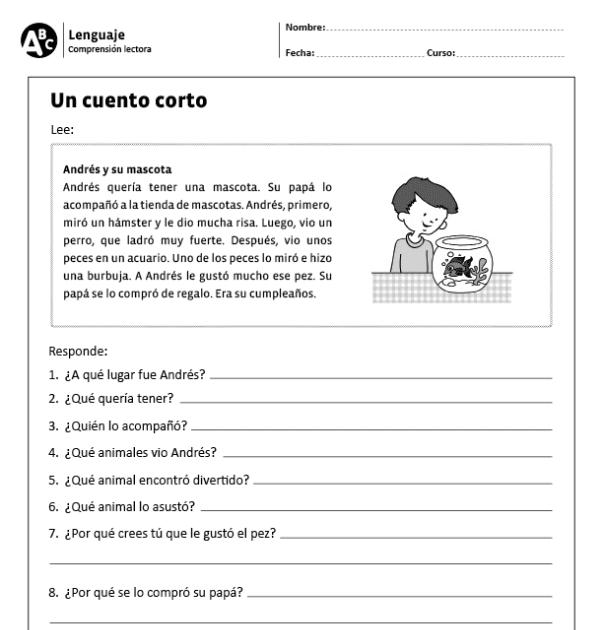 Lecturas Cortas De Comprension Para Niños De Segundo Grado Búsqueda De Google