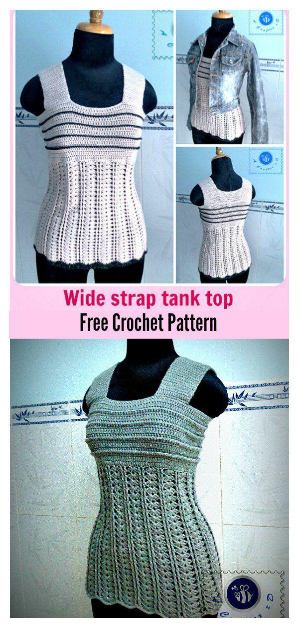 Wide Strap Tank Top Free Crochet Pattern | Deberes, Blusas y Puntos