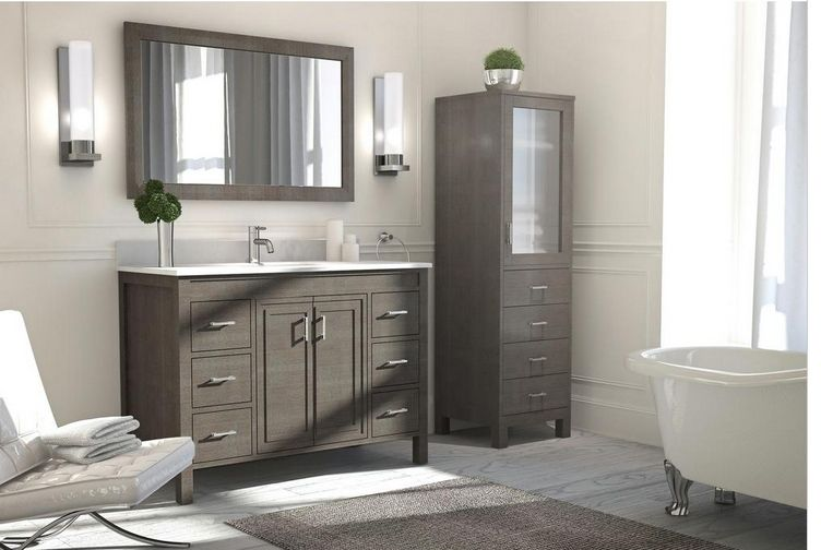 Fresca Oxford 48 In Traditional Double Bath Vanity In Gray With