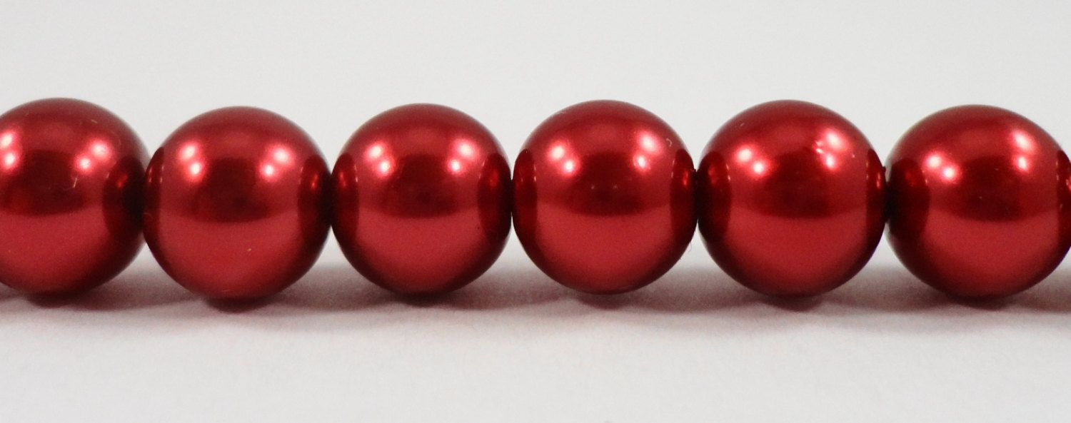 """Red Crystal Pearl Beads 8mm Round Glass Pearl Beads, Cranberry Red Pearl Beads, Imitation Pearl Beads on a 7 1/2"""" Strand with 25 Beads by BusyBeeBeadSupplies on Etsy"""