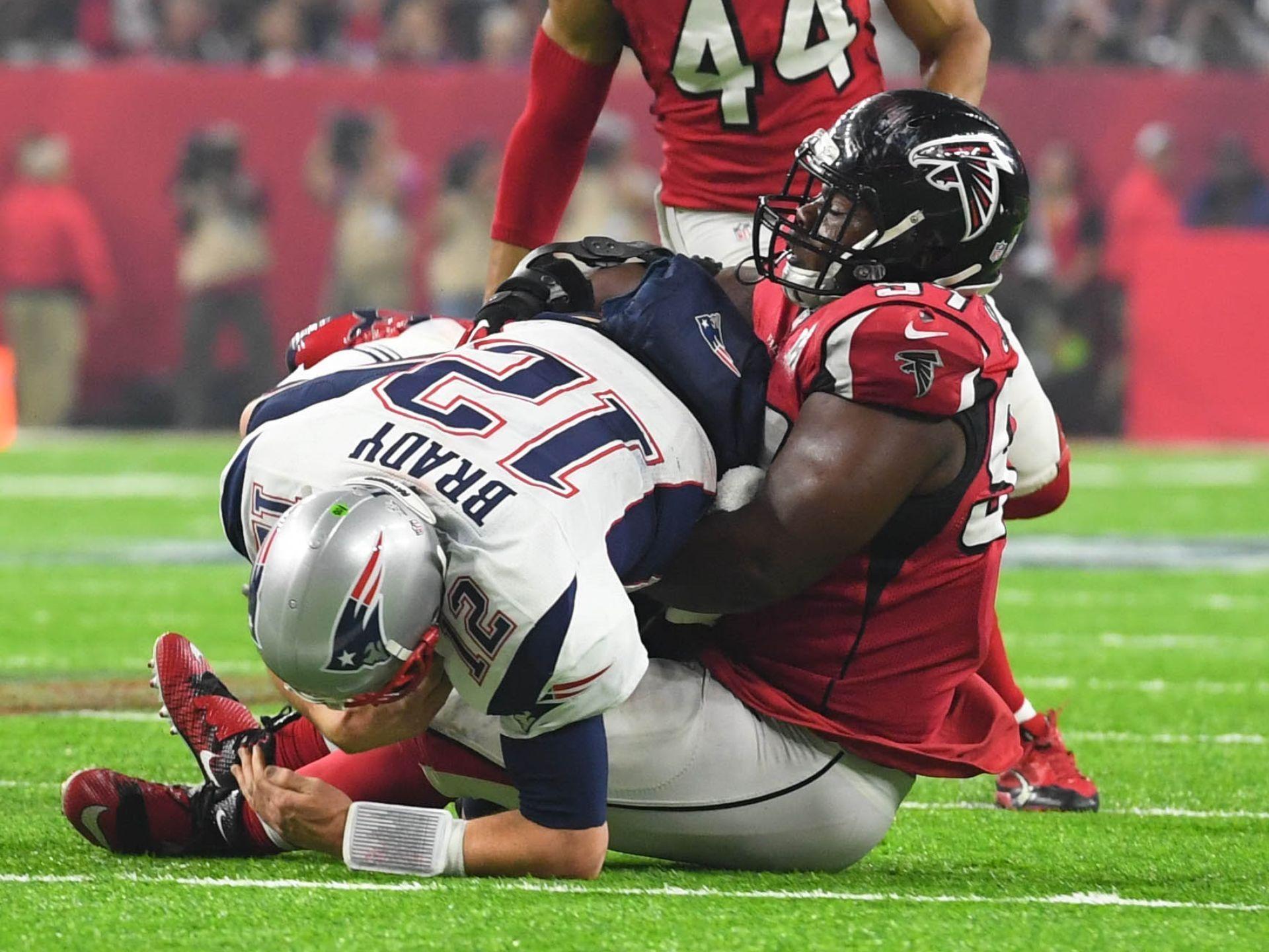 Falcons Defensive Tackle Grady Jarrett 97 Sacks Patriots Tom Brady New England Patriots Tom Brady Mvp