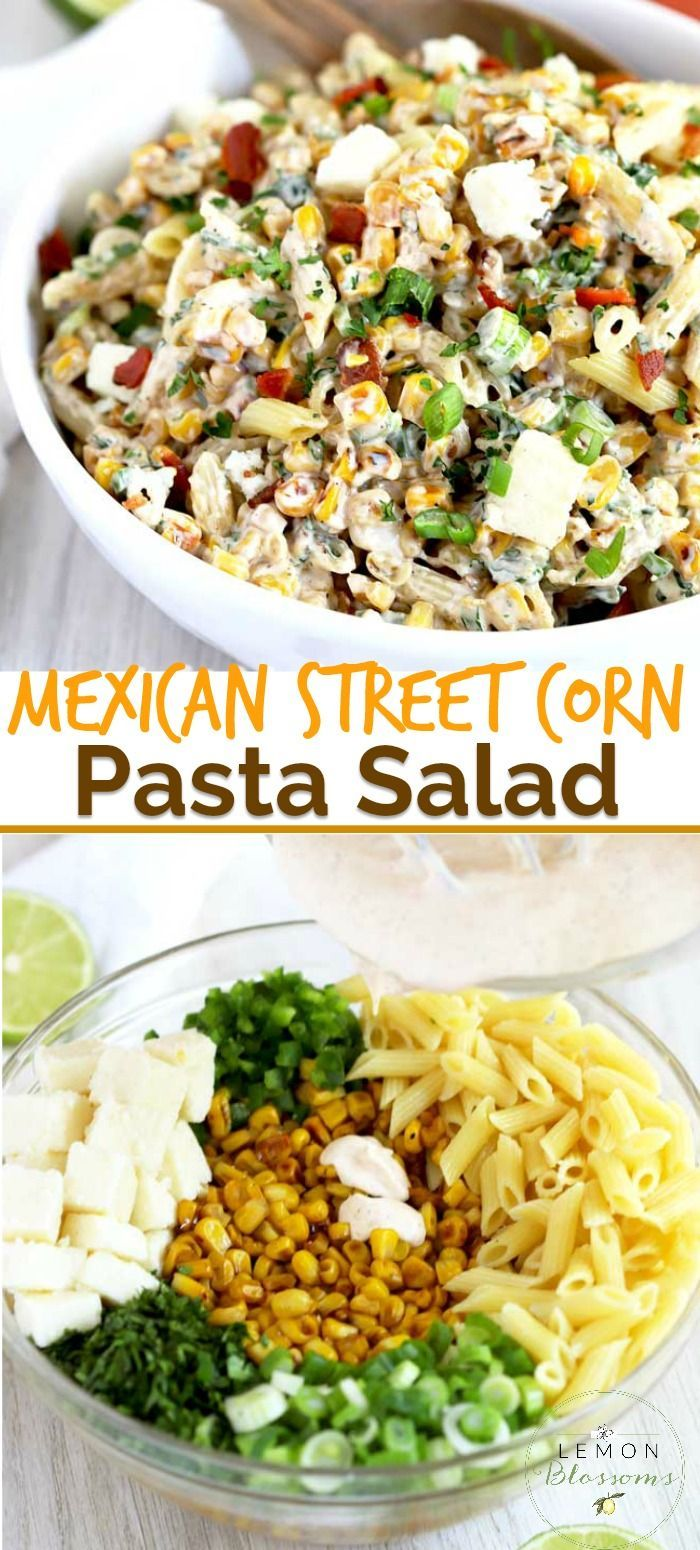 This Mexican Street Corn Pasta Salad is easy to make and loaded with flavor Charred corn pasta jalapenos and cilantro are tossed in a creamy chililime dressing and topped...