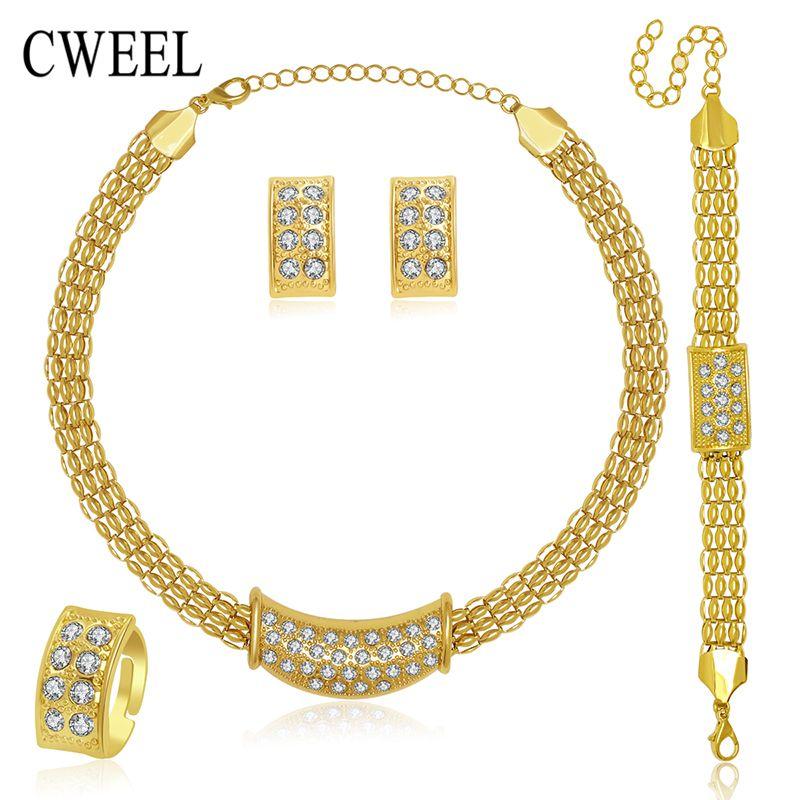 CWEEL 아프리카 보석 세트 새로운 웨딩 골드 목걸이 세트 도금 파티 여성 패션 신부 반지 팔찌 귀걸이 액세서리