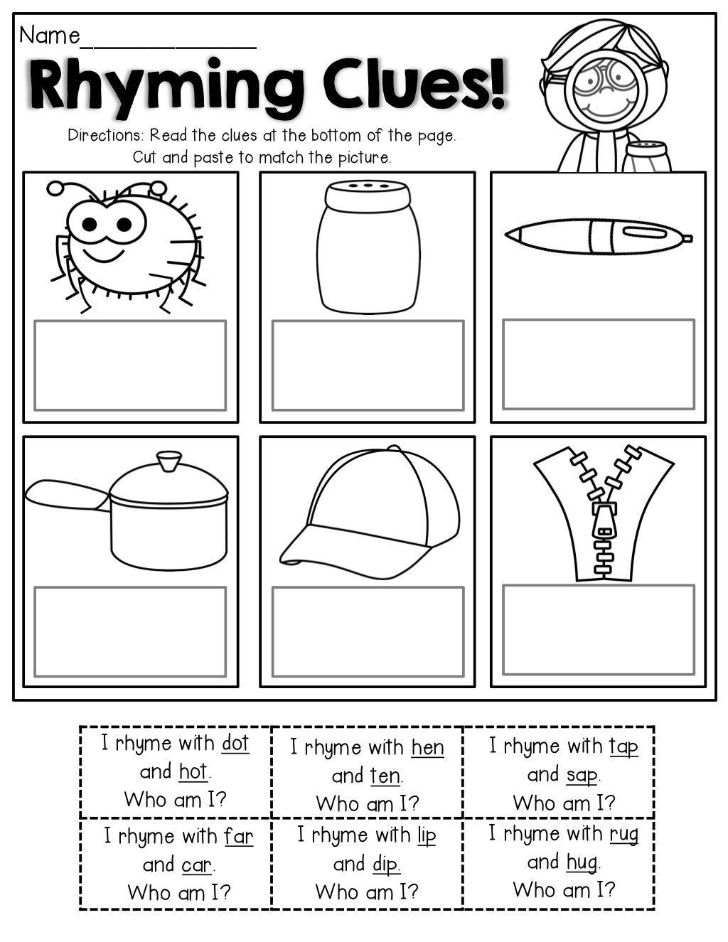 Rhyming Words Worksheet For Kindergarten In