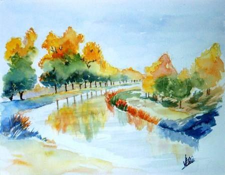 Aquarelle Canal De Nantes A Brest Watercolor Landscape