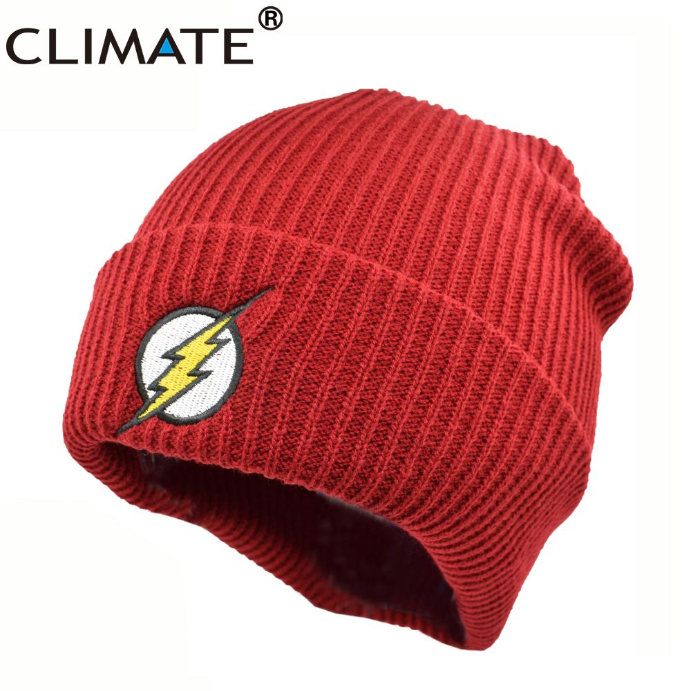 cf0749a860368 CLIMATE 2017 Hot The Flash Hero Barry Allen Embroidery Winter Hats Soft  Solid Beanie Men Women HipHop Warm Knitted Red Caps Hat  Affiliate