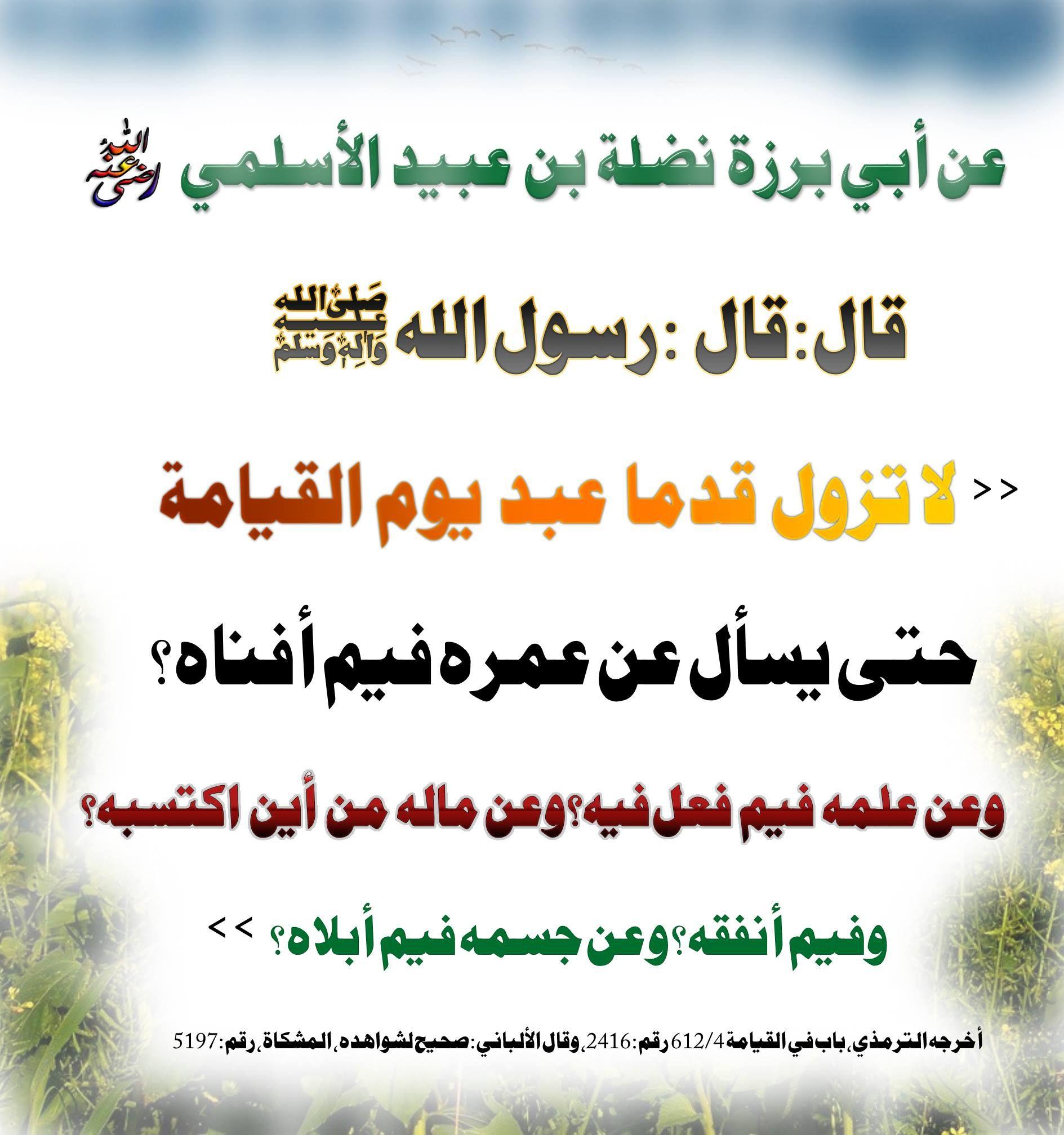لا تزول قدما عبد يوم القيامة حتى يسأل عن عمره فيم أفناه Calligraphy Arabic Calligraphy Arabic