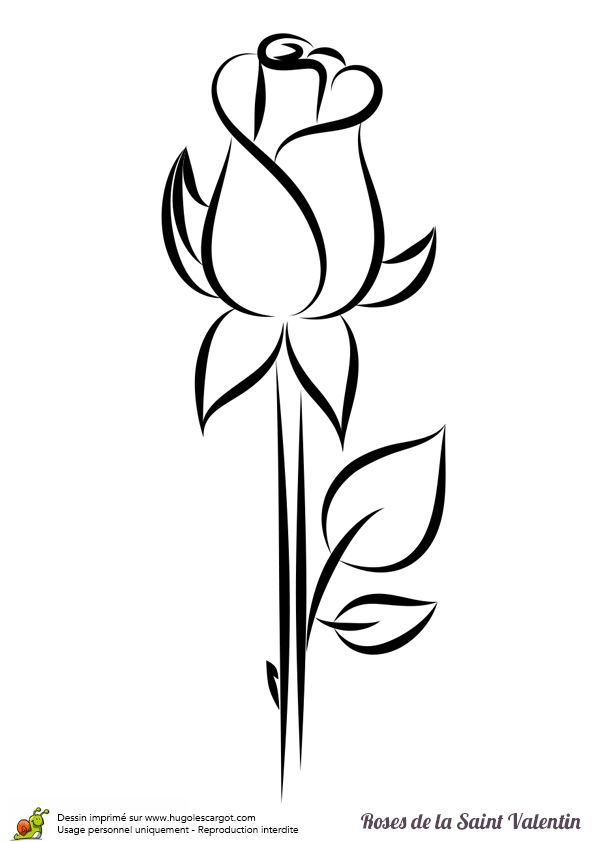 Coloriage Rose Saint Valentin Bouton Sur Hugolescargot Com Hugolescargot Com Bouton Coloriage Flower Drawing Roses Drawing Valentines Day Coloring Page