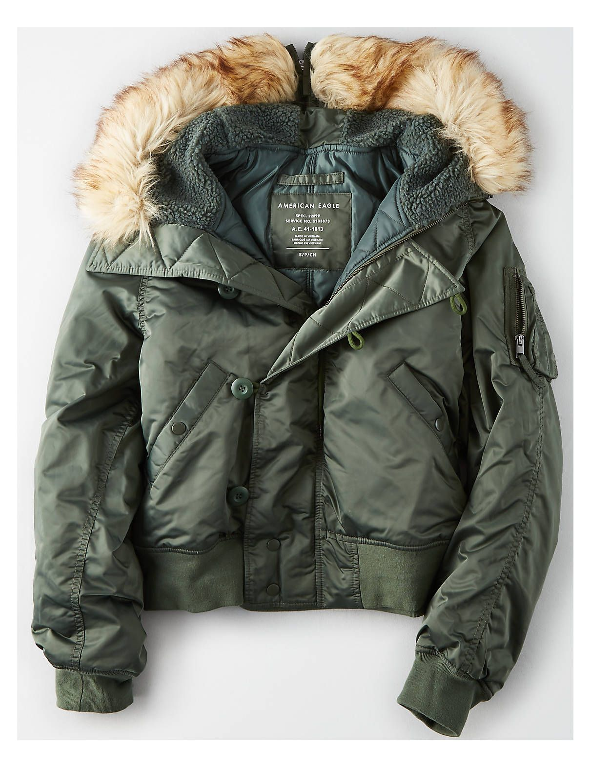 Ae Flight Bomber Jacket Olive American Eagle Outfitters American Eagle Women Clothes For Women Grey Denim Jacket [ 1575 x 1211 Pixel ]