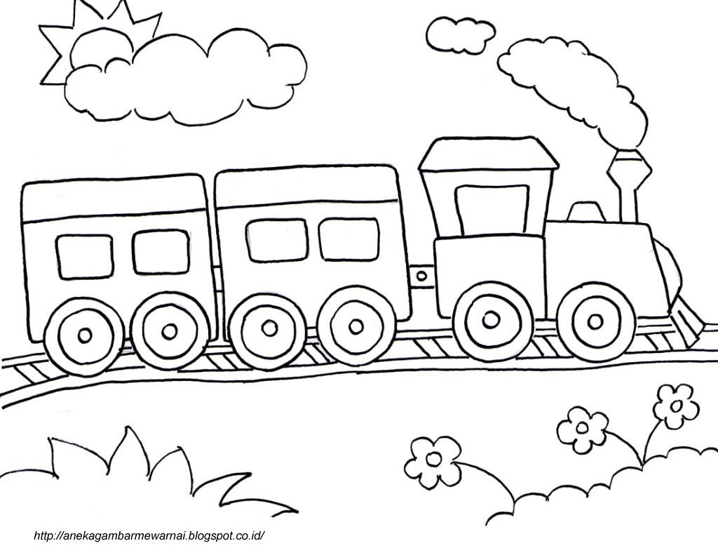 Gambar Mewarnai Kereta Api Untuk Anak PAUD dan TK