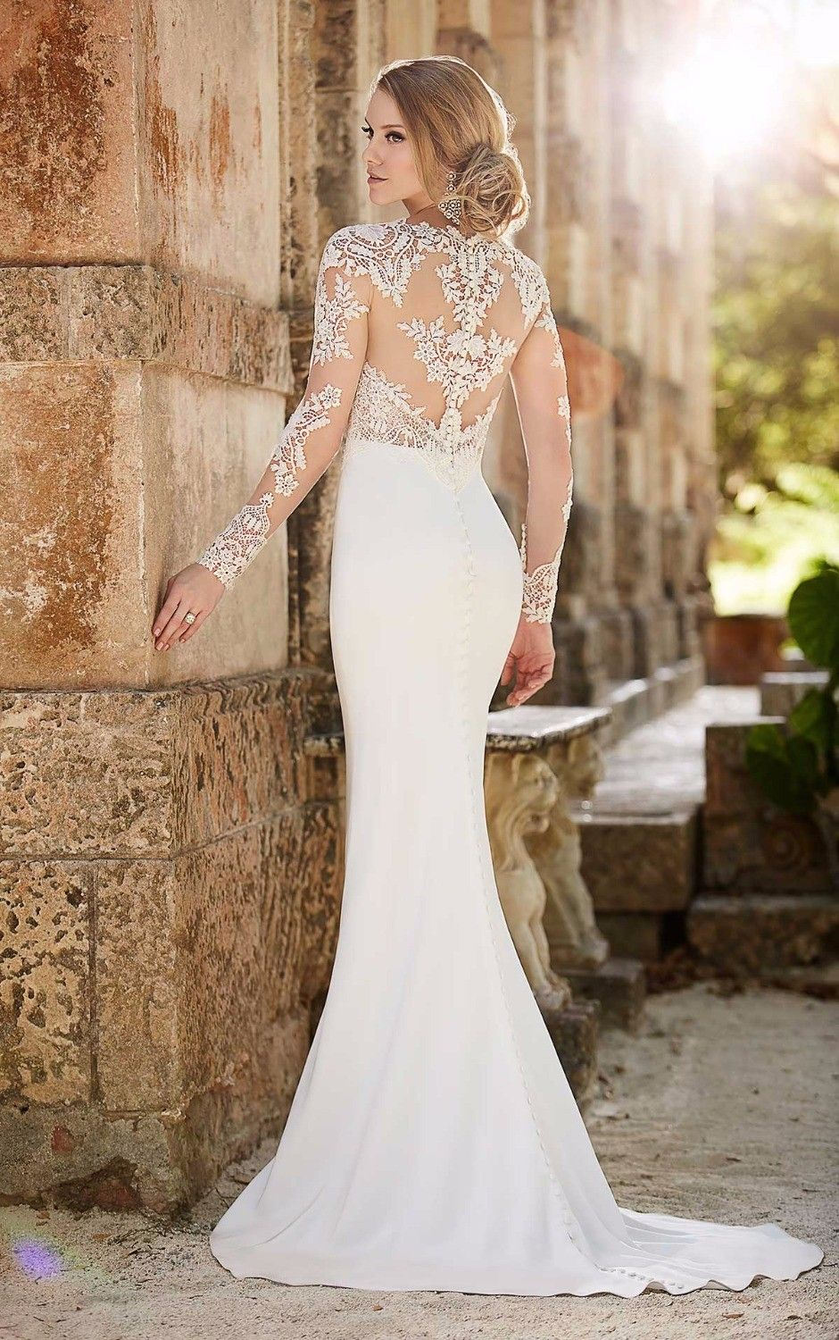 Beaded appliques backless lace mermaid wedding dress mermaid