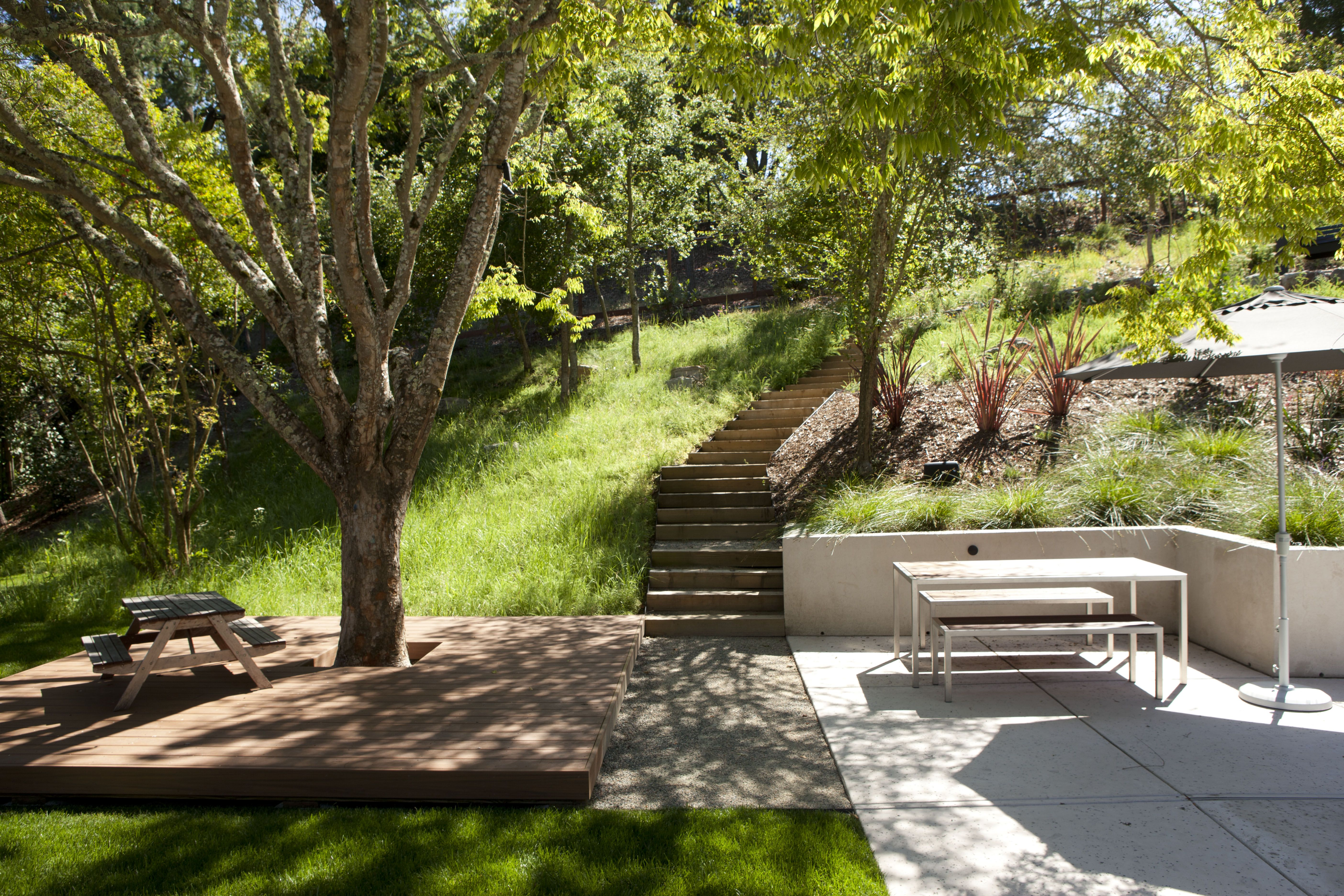 The property continues uphill so simple railroad tie steps ... on Uphill Backyard Ideas  id=14489