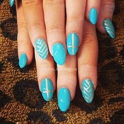 Turquoise n gold for @sammisweetheartxox #nails #nailed #nailart #nailswag #acrylicnails #holnails