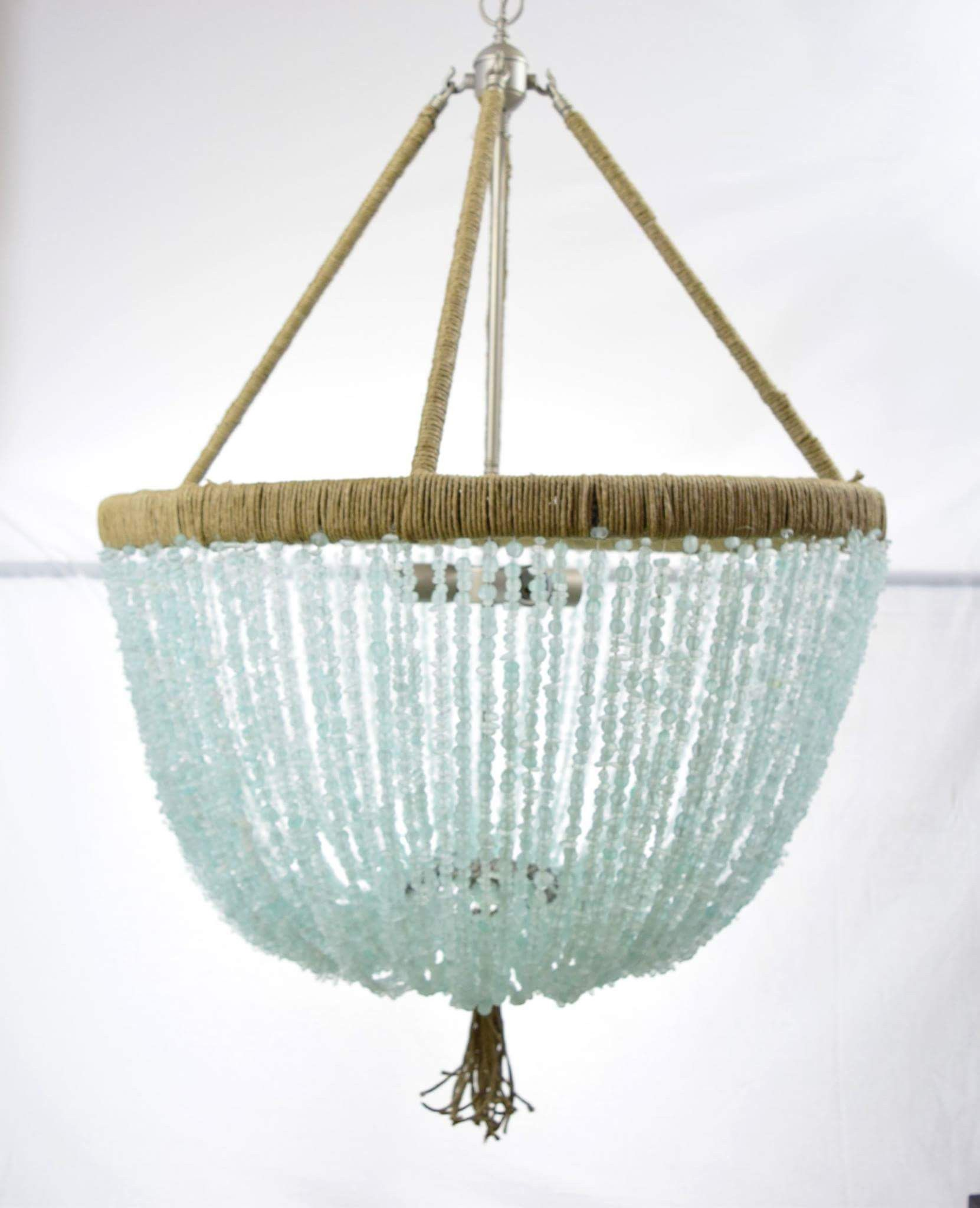 Francois 2 Light Sea Gl Open Chandelier Designed In The French Empire Style With A Contemporary Twist Using Cultured Beads
