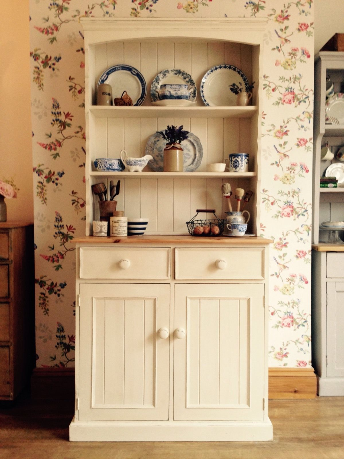 Shabby Chic Solid Pine Farmhouse Dresser In Annie Sloan   | EBay