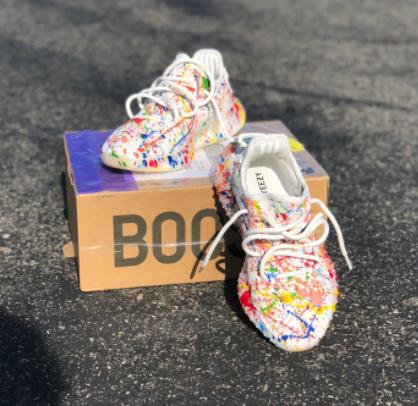 Custom Paint Rainbow Splattered Adidas Yeezy S Yeezy Adidas Yeezy Cute Shoes