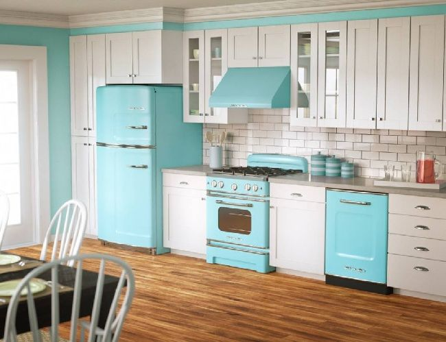 Modern Vintage White And Blue Style Kitchen Cabinets