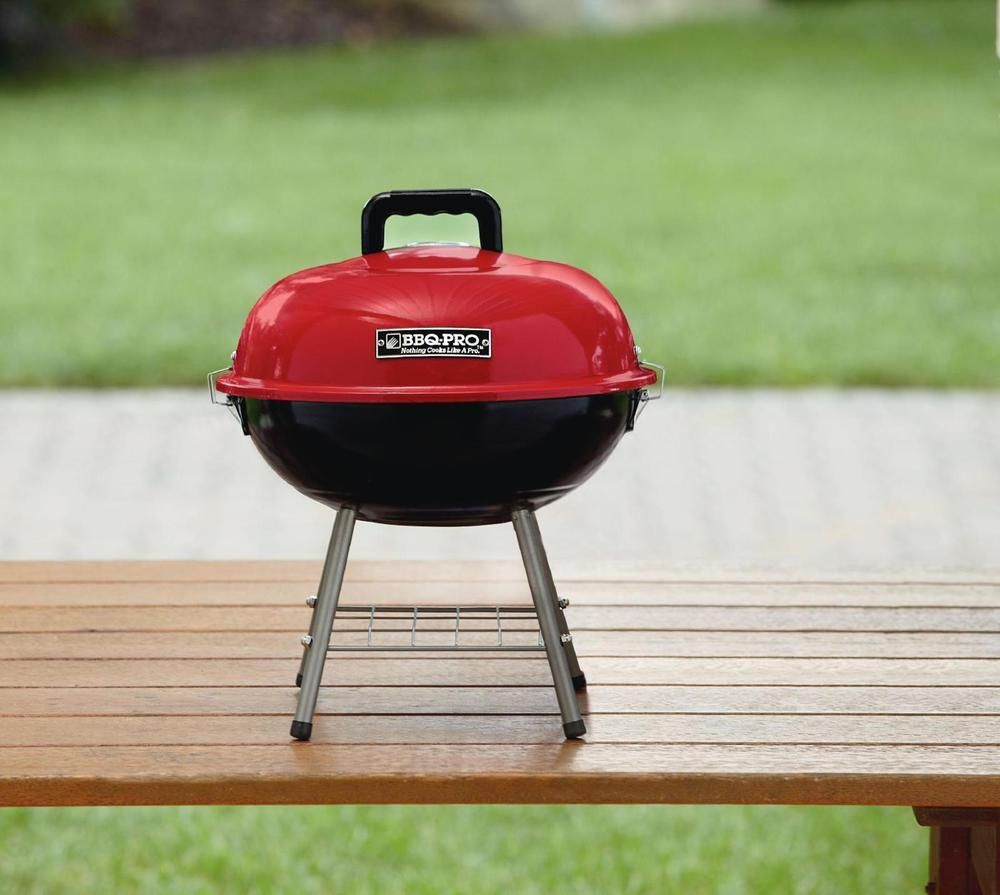 Bbq Pro 14 Tabletop Charcoal Grill Red Lid On Top Original Bbq Free Shipping Bbqpro Bbq Pro Charcoal Bbq Kettle Grills