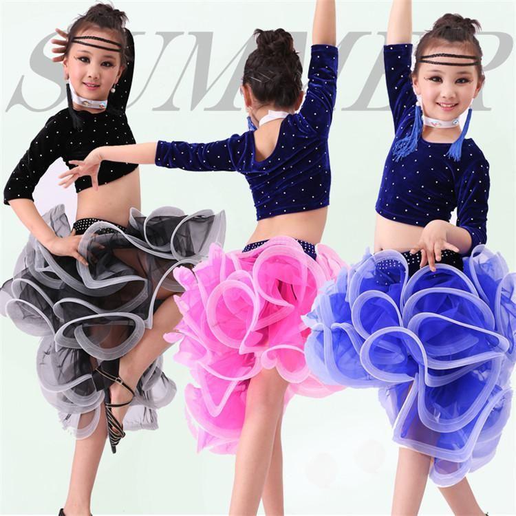 94d051fb1f4c 4 PCS Child Latin Dance Dresses Kids Ballroom Dance Costume Girl ...