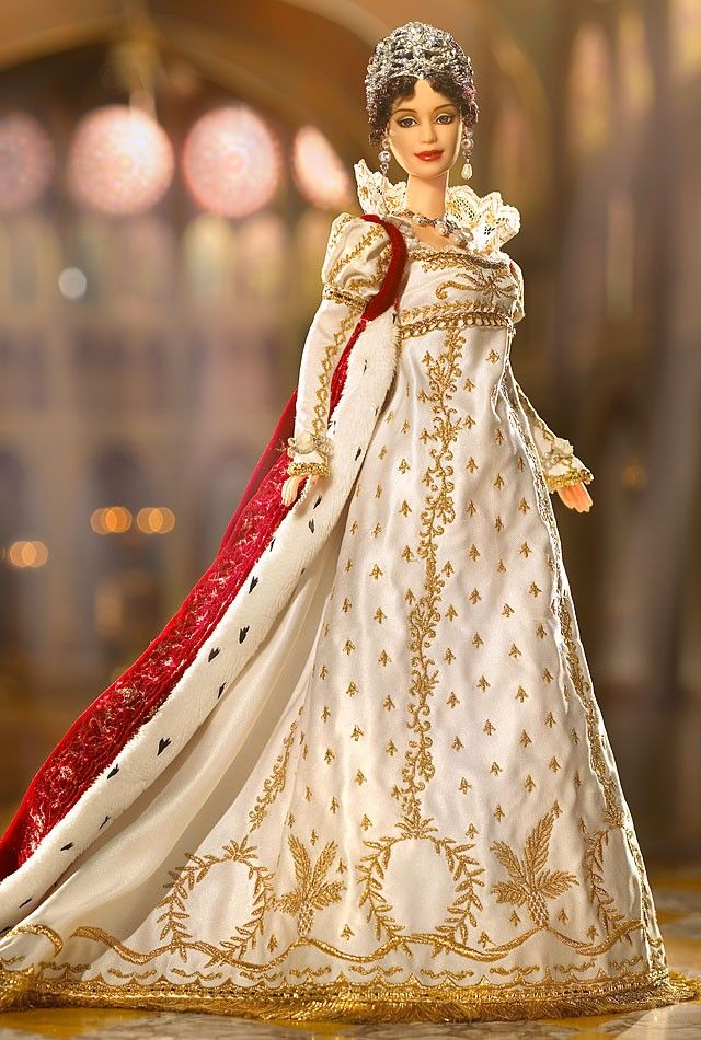 Empress Josephine Barbie Doll Wears A Regal Outfit Inspired By Historical Records The Empire Style Gown Is Made Of Satin Embellished With Golden Braid