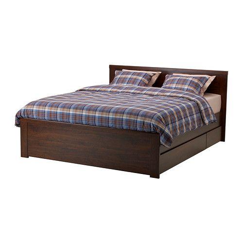 BRUSALI Estruc cama&4 caj, marrón   La cama, Ikea y Ruedas