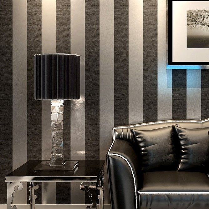 Modern Black Wallpaper Striped Purple And Silver Glitter Wall Paper ...