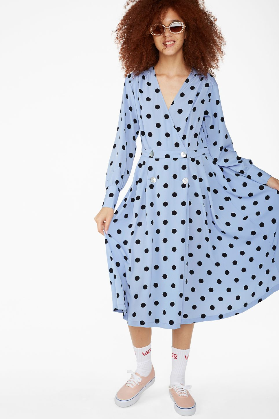 Double Breasted Wrap Dress Blue With Black Dots Dresses