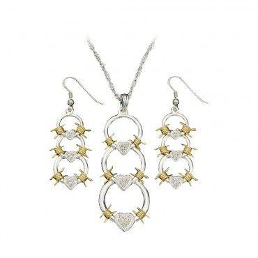 Triple Barbed Wire Links Jewelry Set (JS61119) - Jewelry - Jewelry & Gifts | Montana Silversmiths