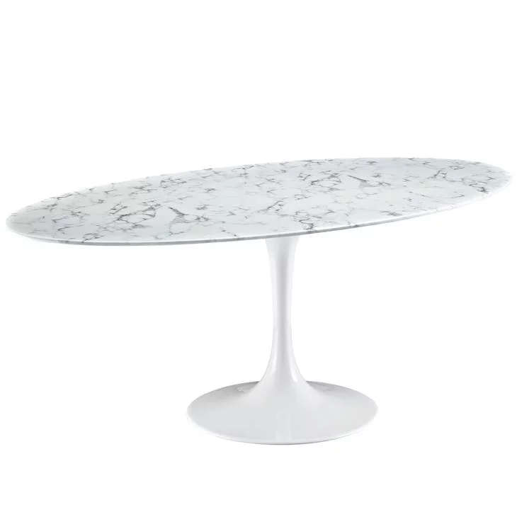 Lippa 78 Oval Artificial Marble Dining Table Contemporary