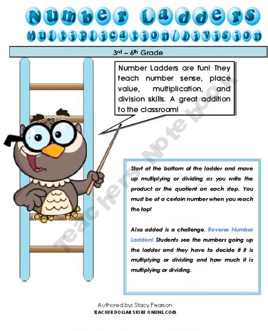 Number Ladders Multiply/Divide