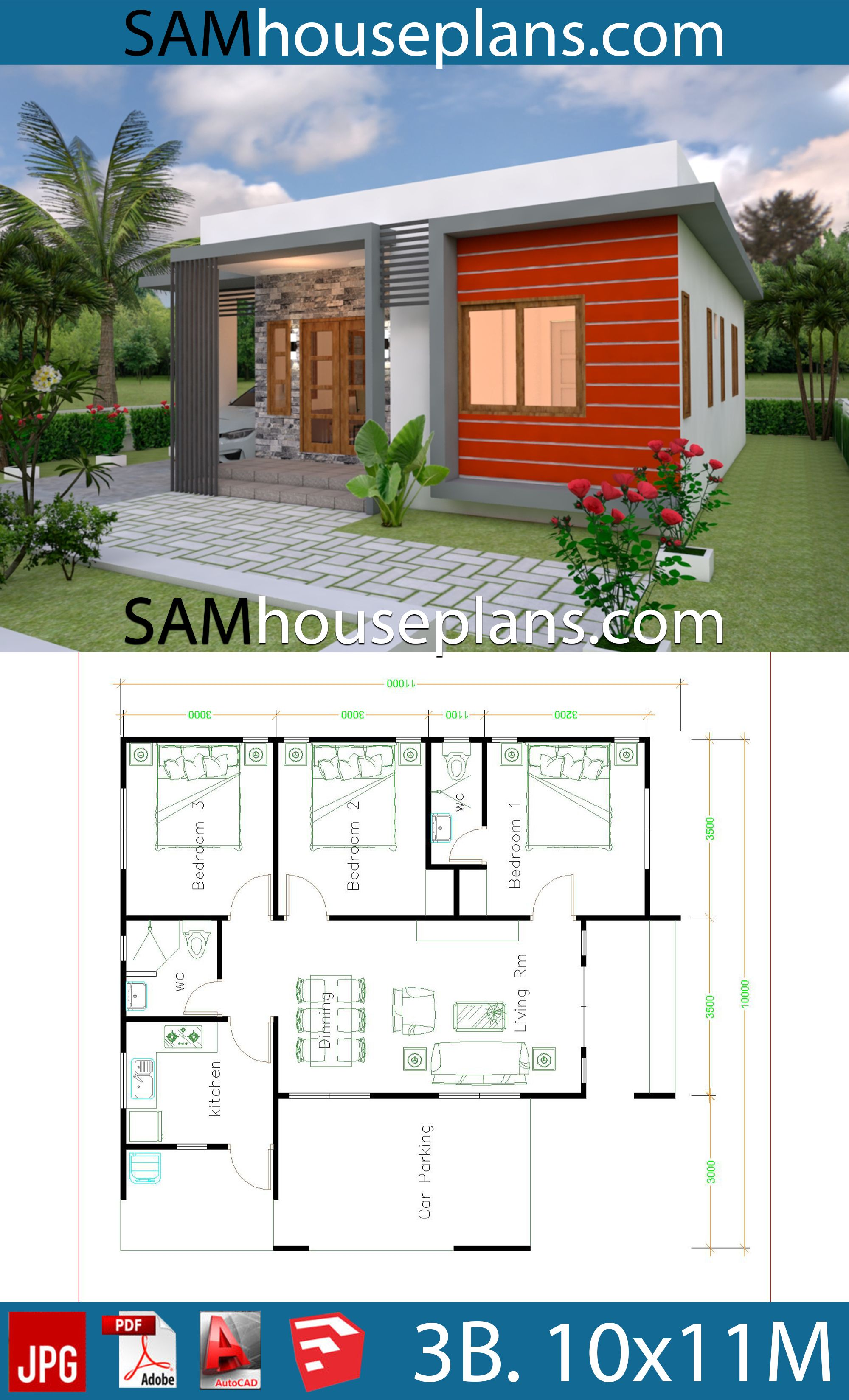 House Plans 10x11 With 3 Bedrooms Sam House Plans Beautiful House Plans Modern House Plans Guest House Plans