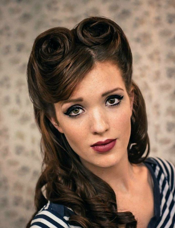 rockabilly styling f r offene haare damen frisur mit locken selbermachen hair i can use for. Black Bedroom Furniture Sets. Home Design Ideas