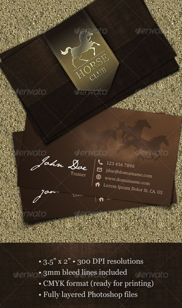Horse Club Business Card   Business cards, Horse and Business
