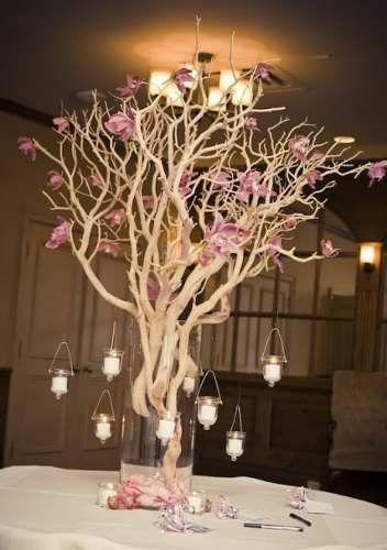 Centros de mesa para 15 a os con ramas secas buscar con for Ramas blancas decoracion