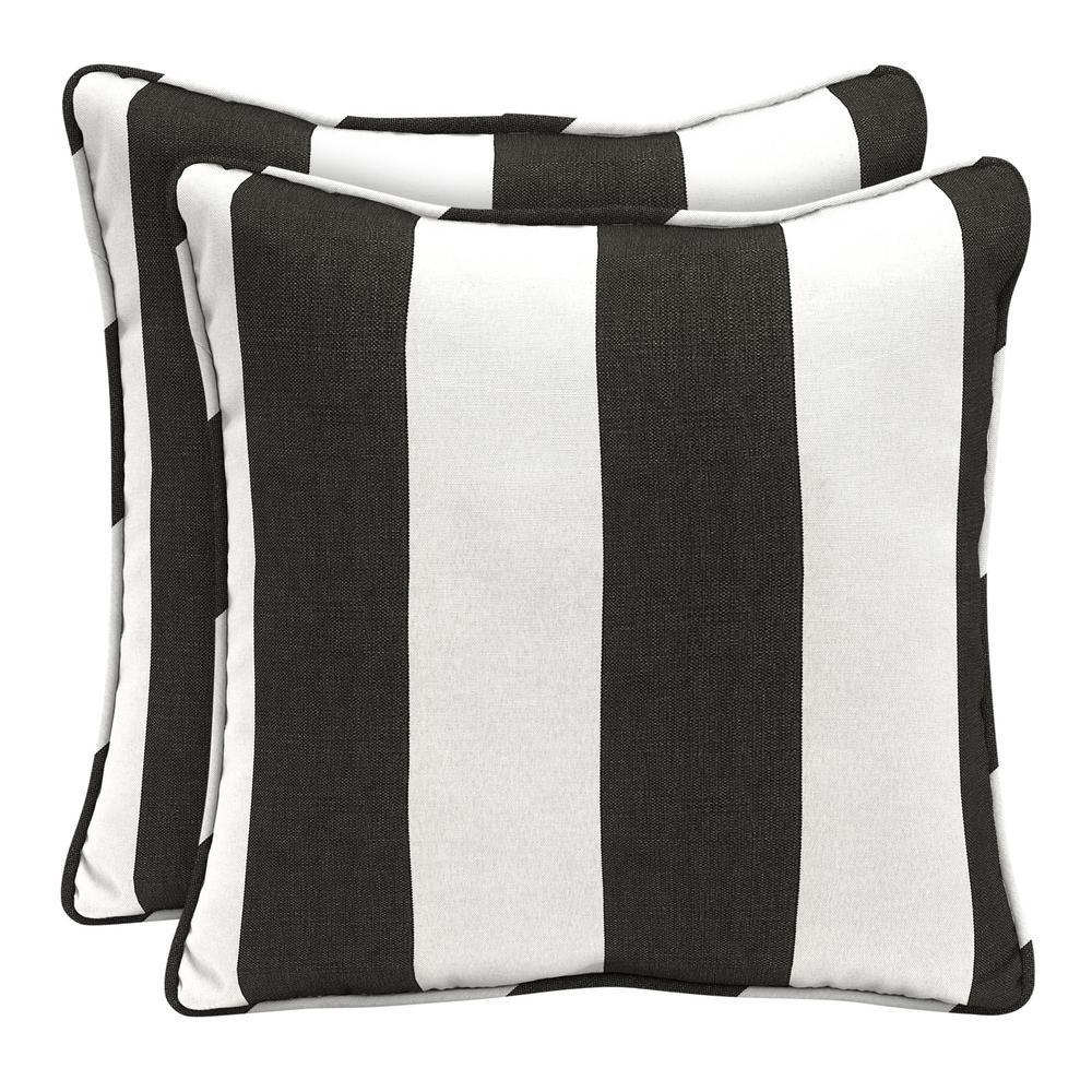 Home Decorators Collection Sunbrella Cabana Classic Square Outdoor Throw Pillow 2 Pack Ah1u545b D9d2 Outdoor Throw Pillows Home Decorators Collection Black And White Furniture