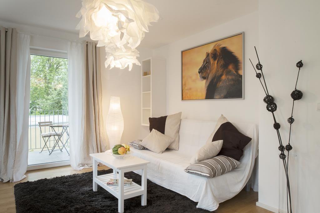 Helle Möbel und große Prints in der Wohlfühloase #löwe #print