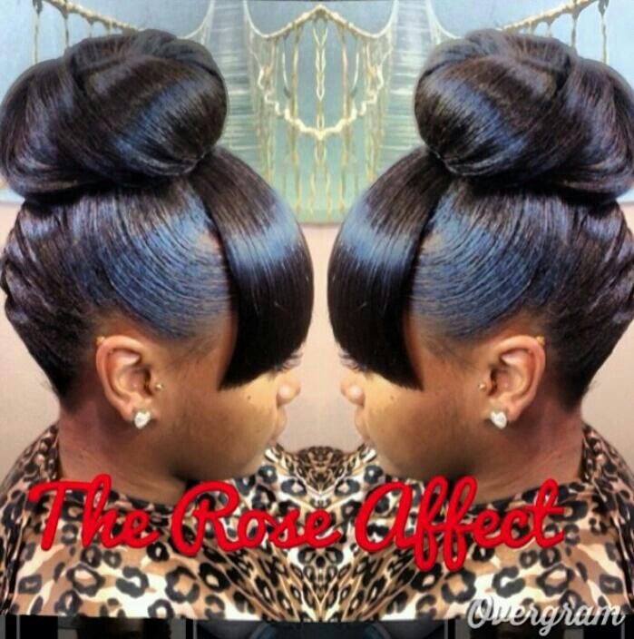 Mommy Loved This Look Bun Bangs Since The 70 S Black Hairstyles