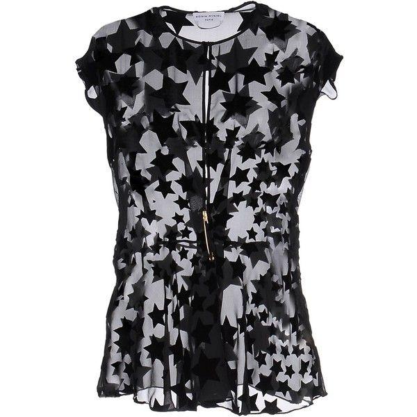 Sonia Rykiel Blouse (£485) ❤ liked on Polyvore featuring tops, blouses, black, velvet top, zip blouse, sonia rykiel, short sleeve tops and zipper top