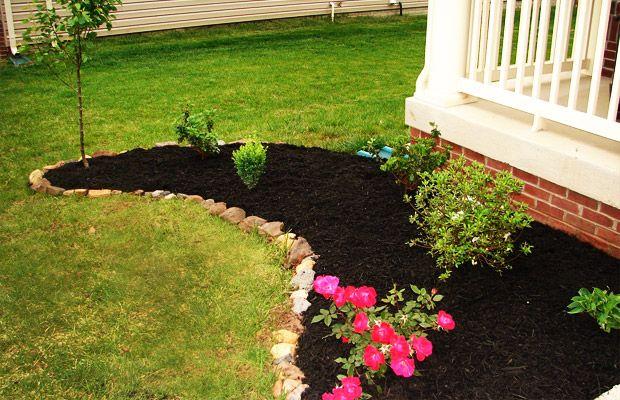 black mulch with rocks