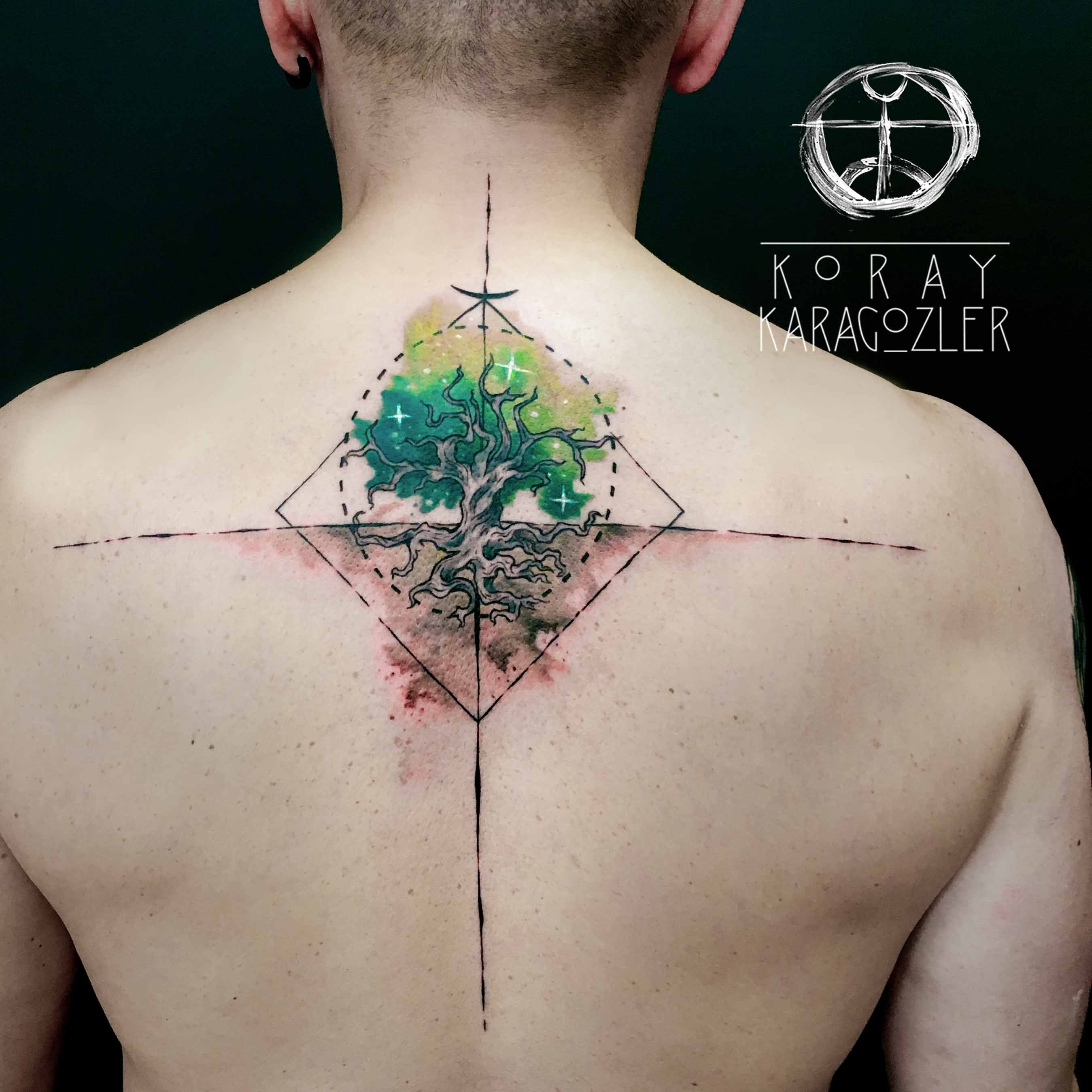 Tree Of Life Watercolor Abstract Geometric Tree Tattoo