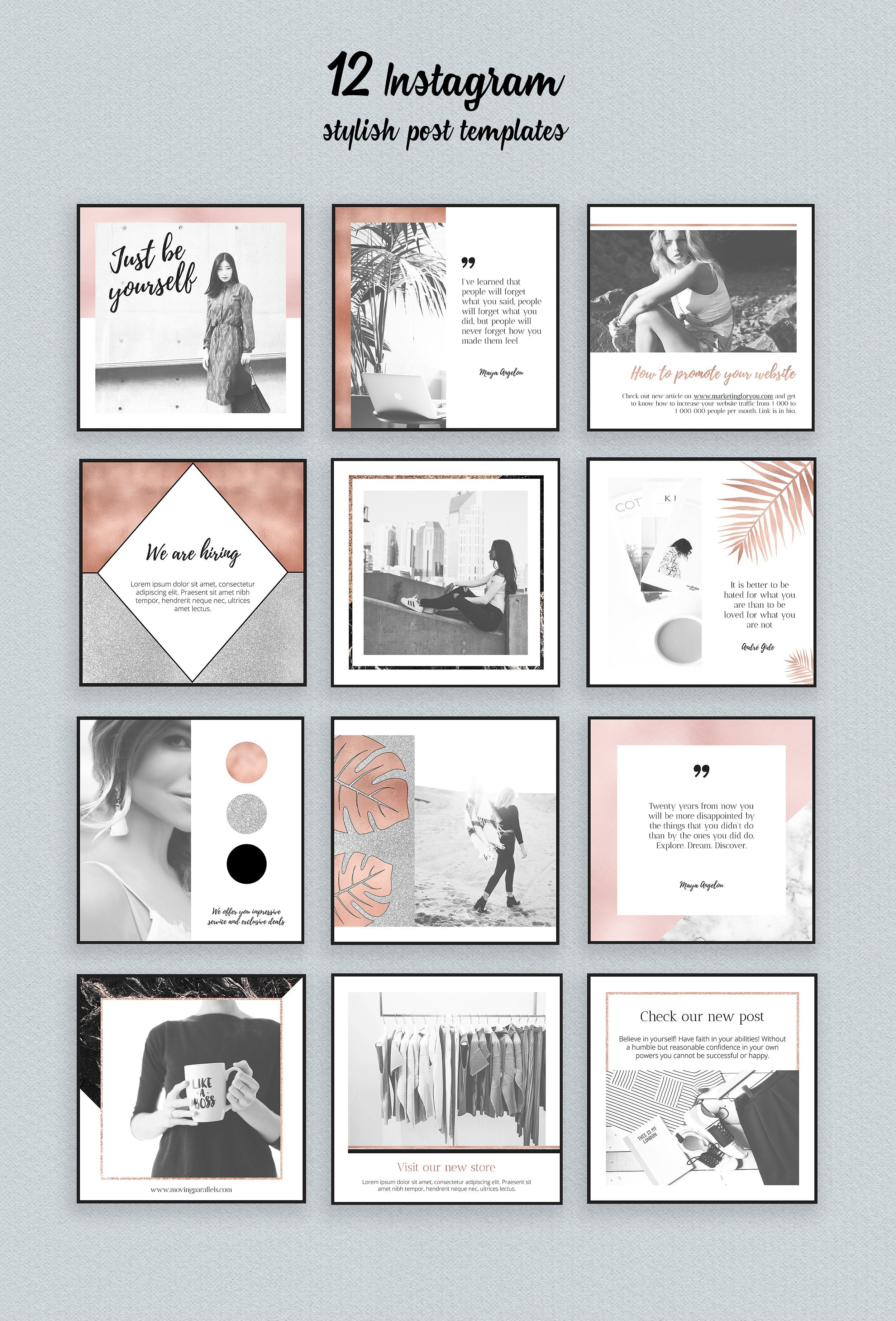 Rose Gold Instagram Templates Pack | Pinterest | Adobe photoshop ...