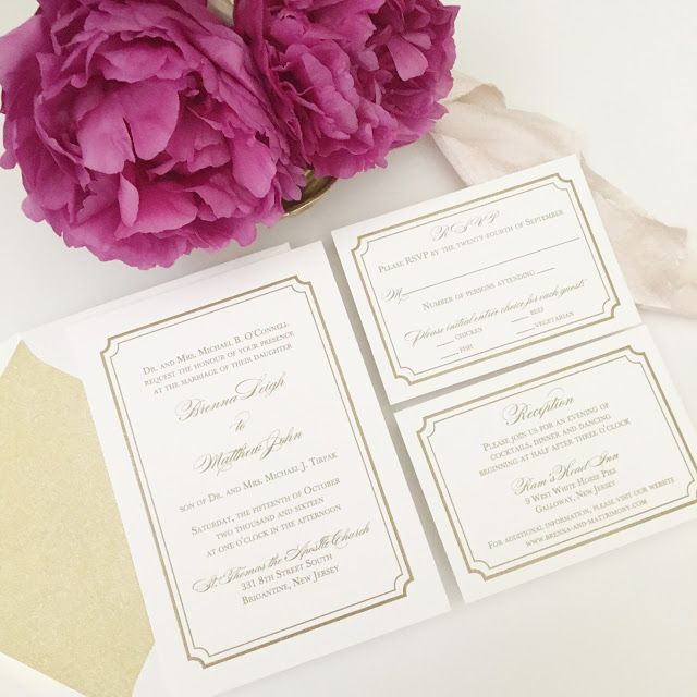 Cheap Unique Wedding Invitations: Metallic Gold Affordable Thermography Wedding Invitations