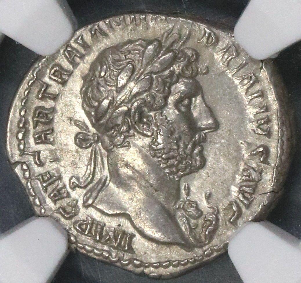 119 122 Hadrian Ngc Au Rome Denarius Lib Pvb Unpublished 55