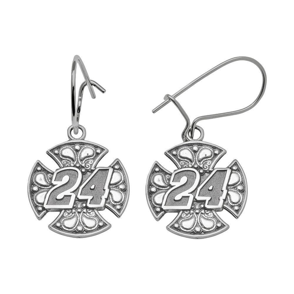 Insignia Collection Nascar Jeff Gordon Sterling Silver 24 Drop Earrings, Women's, Grey