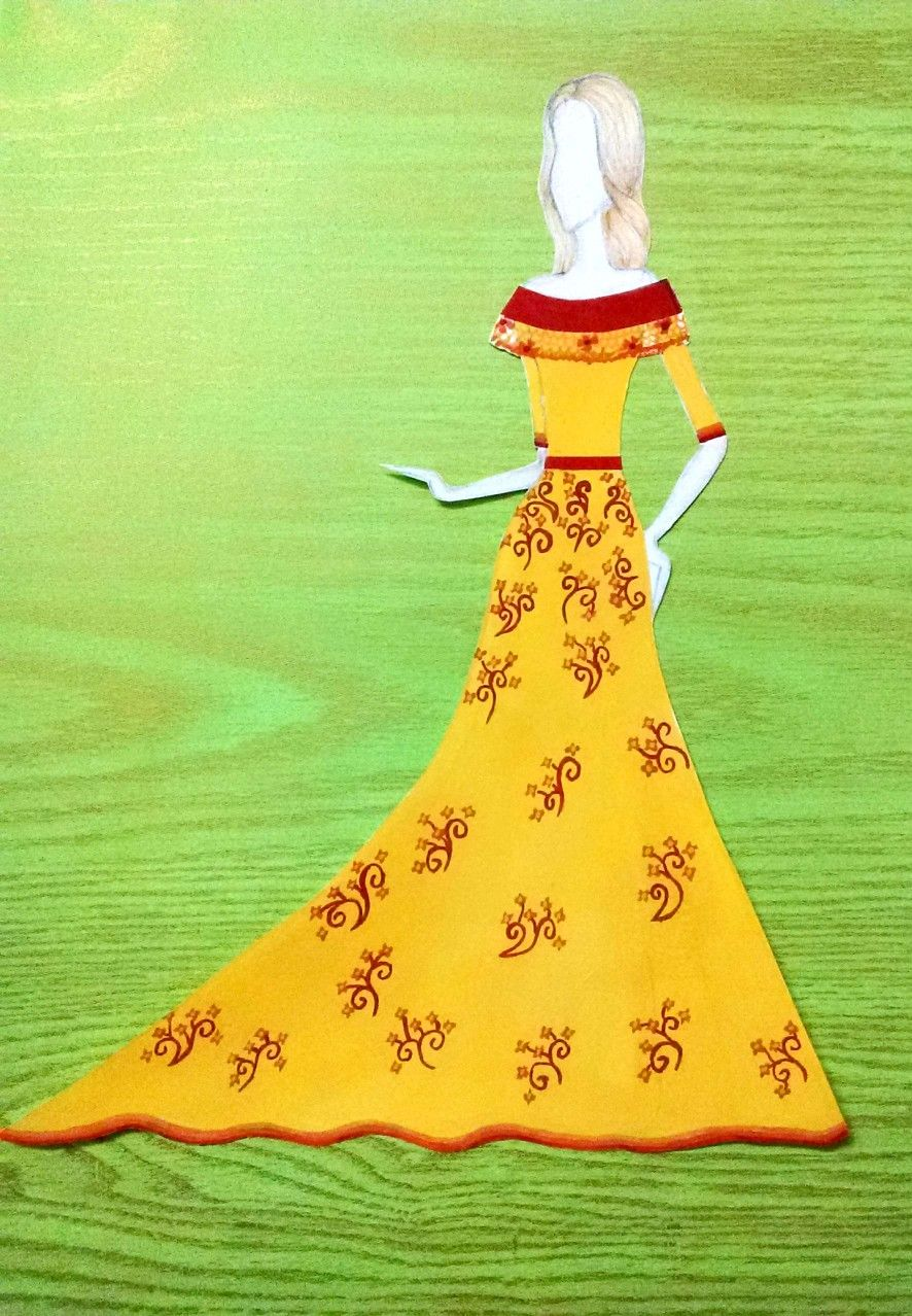 CROQUI- Gown designed using warm colours. \'DESIGNER-NAINA\'   Fashion ...