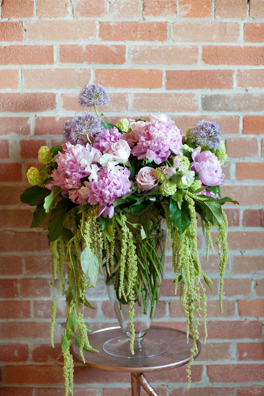 Wedding Ceremony Vase Floral Arrangement With Pink Peonies Purple