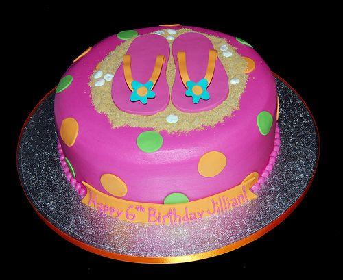 Amazing Polka Dot Flip Flop 6Th Birthday Cake Flip Flop Cakes 6Th Funny Birthday Cards Online Benoljebrpdamsfinfo