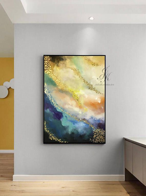 Large Abstract Oil Painting Large Wall Art Gold Leaf Modern Art ...