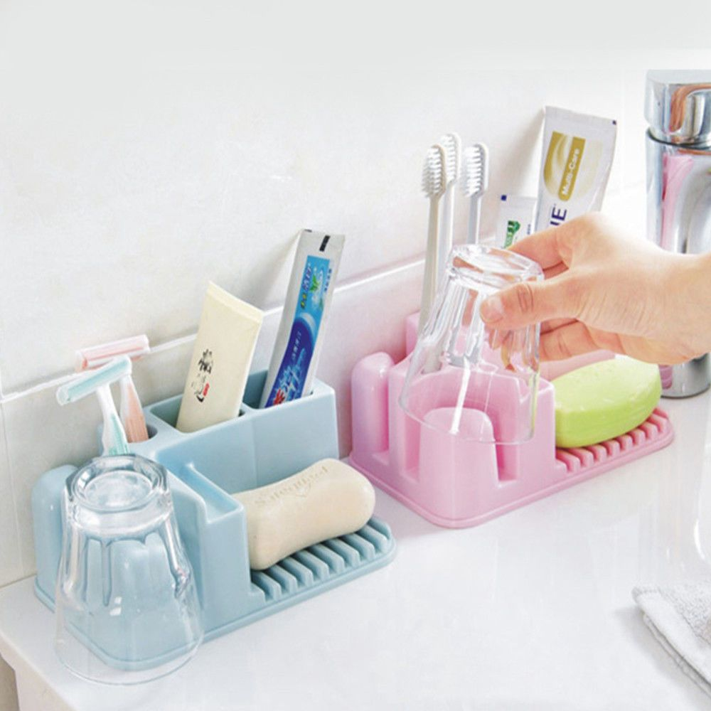 Home Bathroom Toothbrush Holders Wall Mount Sucker Suction Organizer Cup Rack