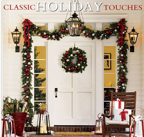Red White And Green Christmas Door Decor With Lanterns And
